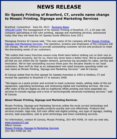 press release, inbound marketing agency, Petaluma CA
