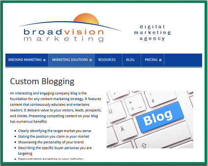inbound marketing includes custom blogs