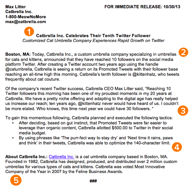 format for press release